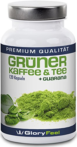 GloryFeel F-BURN - Grüner Tee plus Grüner Kaffee und Guarana Extrakt - 120 Vegane Kapseln - Ohne Magnesiumsterate