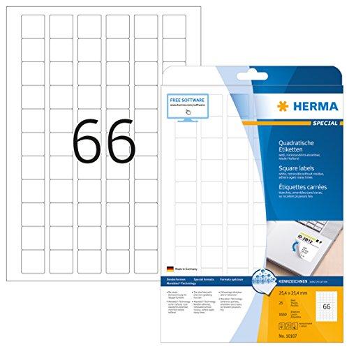 Herma 10107 Universal Etiketten quadratisch, ablösbar, wieder haftend (25,4 x 25,4 mm) weiß, 1.650 Klebeetiketten, 25 Blatt DIN A4 Papier matt, bedruckbar, selbstklebend, Movables