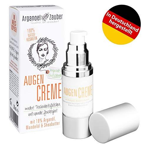 Augencreme mit 10% Arganöl | spendet Feuchtigkeit ohne zu reizen | effektive Augenpflege gegen kleine Trockenheitsfältchen | 30 ml von Arganoel-Zauber | Naturkosmetik aus Deutschland (30 ml)
