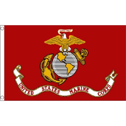Us Marine Corps Flag 5Ft X 3Ft American Military Banner Usa With 2 Eyelets by U.S. Marine Corps -