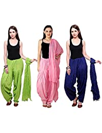 Green World Products : Combo Of Parrot, Pastel Pink, & Royal Blue Colour 3 Indian Readymade Patiala Salwar Dupatta...