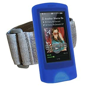 iGadgitz Blue Silicone Skin Case Cover & Sports Gym Jogging Armband for Sony Walkman NWZ-A865 NWZ-A864 NWZ-A866 NWZ-A867 A Series Video MP3 Player 8gb 16gb 32gb 64gb + Screen Protector