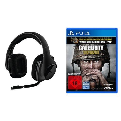 Logitech G533 Gaming-Headset (kabelloser DTS 7.1 Surround-Sound) schwarz + Call of Duty: WWII - Standard Edition - [Playstation 4]