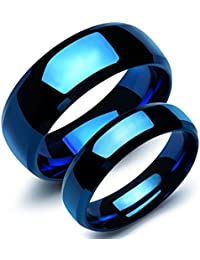 Peora Glossy Blue Never Fading Stainless Steel Couple Rings for Lovers Engagement Bands Valentine Jewellery Gift Sets for Men and Women