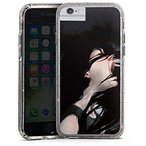 Apple iPhone 6 Bumper Hülle Bumper Case Glitzer Hülle Schrei Girl Art Bumper Case Glitzer rose gold