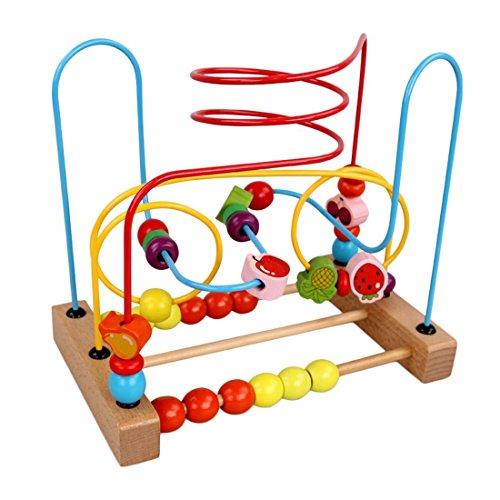 (LVPY Motorikwürfel, Motorikschleife aus Holz mit drei verschiedenen Schleifen Tierkreis Roller Coaster um Korn Maze Spielzeug Für Kinder ab 3 Jahren)