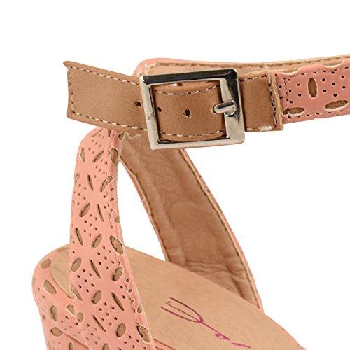 Outofgas Clothing Dolcis cheville Maille Sandales à hauts talons Chaussures d'été - Pink Tan