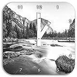 Yosemite National Park California Kunst B&W, Wanduhr Durchmesser 28cm mit weißen eckigen Zeigern und Ziffernblatt, Dekoartikel, Designuhr, Aluverbund sehr schön für Wohnzimmer, Kinderzimmer, Arbeitszimmer
