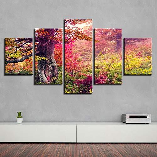 adgkitb canvas Hd Drucke Abstrakte Wand - Dekor - Bild Fünf Stücke Bäume Landschaft Decorhome Tagungsraum Fashion Paintings Rahmen