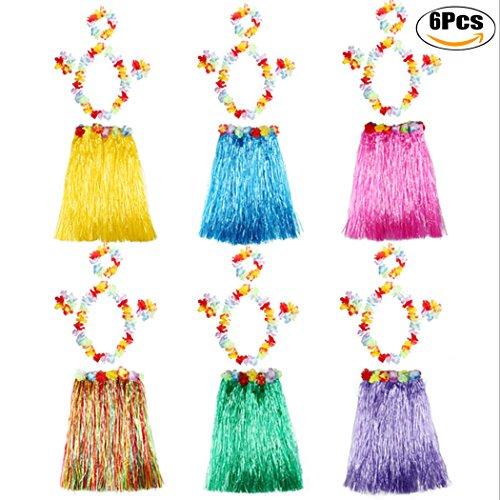 Fascigirl 6 Stück Hula Kleid Hawaiian Rock Kunststoff Sommer Strand Party KostüM Set mit Stirnband und Armband