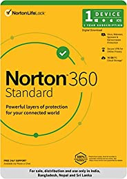 Norton 360 Standard |1 User 1 Year|Total Security for PC, Mac, Android or iOS |Code emailed in 2 Hrs