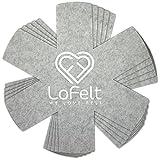 LoFelt ❤ - Stapelschutz 5er-Set für Pfannen, Töpfe und Schüsseln aus Filz - XL 32cm - Pfannenschutz Topfschutz - Sternform Hellgrau