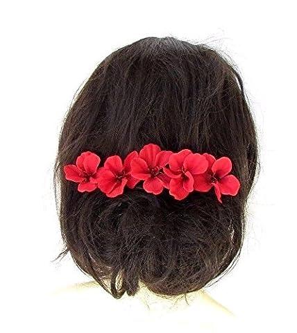 5X Rouge Hibiscus Fleur épingles à cheveux Clips Plage tropicale de mariage hawaïen 2419* exclusivement Vendu par Starcrossed Boutique *