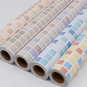 Hode Mosaik Fliesen Folie Selbstklebend, Fliesenaufkleber für Küchen, Bädern,40cmX300cm, Mosaik,Dekofolie,Dekorative Fliesen Klebefolie für Wandfliesen (Blau),Mosaik Fliesen Tapete für Bad