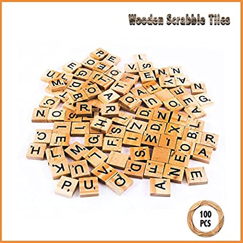 100 Scrabble Tiles Wooden Black Letters Numbers For Crafts Wood