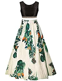 Elexsis Fashion Women's Benglori Satin Silk Digital Printed Semi-stitched Lehenga Choli.