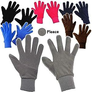 alles-meine.de GmbH Fleece Fingerhandschuhe _ sehr weich –  Bunte Farben  – Größen: 3 Jahre bis Erwachsene Gr. 8 / Damen & Herren – LEICHT anzuziehen ! – mit extra Langen Bündc..
