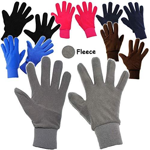 alles-meine.de GmbH Fleece Fingerhandschuhe _ sehr weich -  SCHWARZ  - Größe: 9 bis 10 Jahre - LEICHT anzuziehen ! - mit extra Langen Bündchen Kinder & Babyhandschuhe / Fleeceh.. Alle Schwarzen Fleece
