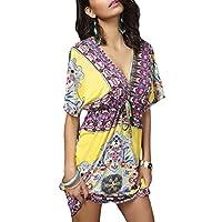 فستان الشاطئ النسائي من GAGA بأكمام قصيرة ورقبة على شكل حرف V فضفاض مطبوع أنيق متوسط الطول اصفر Medium