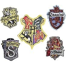Set von 5Hogwarts House Stickerei Patch Eisen auf oder Nähen auf Griffindor, Slytherin, Ravenclaw, Hufflepuff, bestickt Motiv Harry Potter Transfer Aufnäher