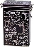 Buzz Barattolo di Latta per caffè con Parole Bianche e Nere, in Stile Vintage, Rettangolare, da Cucina, con Chiusura ermetica, 500 g