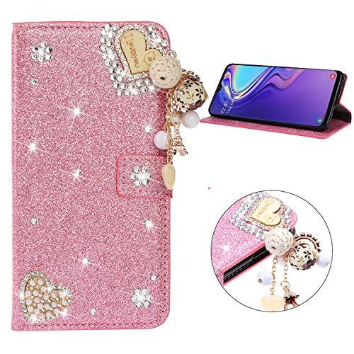 Miagon Hülle Glitzer für Samsung Galaxy A7 2018,Luxus Diamant Strass Herz PU Leder Handyhülle Ständer Funktion Schutzhülle Brieftasche Cover,Rosa