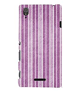 FUSON Purple Vertical Strips Background 3D Hard Polycarbonate Designer Back Case Cover for Sony Xperia T3