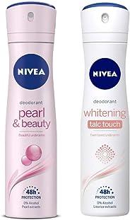 NIVEA Deodorant, Pearl & Beauty, 150ml & Deodorant, Whitening Talc Touch, 150ml Combo
