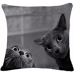 """display08Lovely diseño de gatos funda de almohada cojín manta para casa sofá decoración, Lino, 2#, 17.72"""" x 17.72"""""""