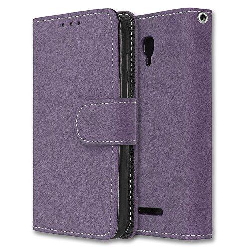 Alcatel Pixi First Hülle, Chreey Matt Leder Tasche Retro Handyhülle Magnet Flip Case mit Kartenfach Geldbörse Schutzhülle Etui [Lila]