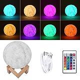 3D Lampe de Lune 16 Couleur, U-Kiss Veilleuse USB Rechargeable, Lampe de Chevet pour Enfants Chambre avec Contrôle Tactile Intelligent (12cm Lune LED Lampe)