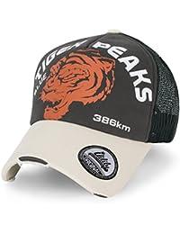 ililily Tiger PEAKS klassischer Stil geriffeltes Muster Baseball Cap Netz Snapback Trucker Cap Hut