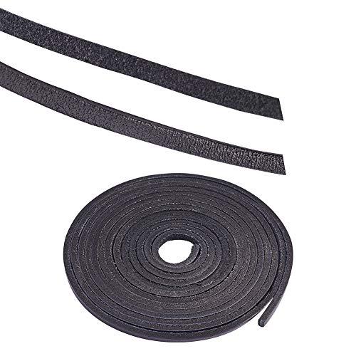 ckung mit 1 Strang Kuh Leder Seil Rindsleder Cords Leder Schmuck Schnur für die Herstellung DIY Schmuck Armband Halskette, Schwarz, 3x2mm ()