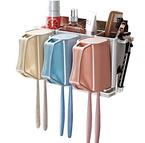YASHUAJIA 6 Racks Staubdicht Wand-Zahnbürstenhalter mit Regal und Mundwasser-Tasse - Für den Bad Familien-Halter, für Erwachsene und Kinder (Produkt Höhe: 11.5cm)