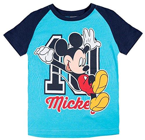 Mickey Kurz (Mickey Mouse Kollektion 2018 T-Shirt 92 98 104 110 116 122 128 Kurz Jungen Sommer Neu Maus Disney (Blau, 98/104))