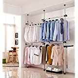 Telescopic Garment Rack, Coat Hanger Clothes Wardrobe 3 Poles 4 Bars, Hanging Rail Storage Shelving, Adjustable Height 160 – 320cm, Free 105cm Reach Hook Included