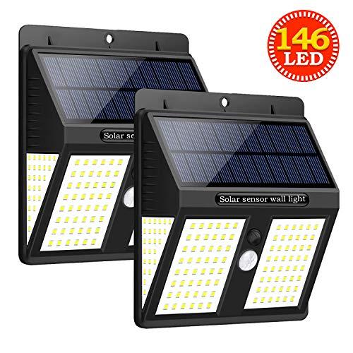 Solarlampen für Außen,SYOSIN 146 LED Solarleuchte Außen mit Bewegungsmelder IP65 Solar Beleuchtung 270° Superhelle Solarlicht ,Solarleuchten Garten