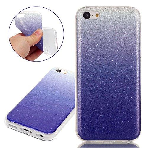 Coque pour iPhone 5C, Etui pour iPhone 5C, ISAKEN Peinture Style Transparente Ultra Mince Souple TPU Silicone Etui Housse de Protection Coque Étui Case Cover pour Apple iPhone 5C (Papillons Fleurs) violet clair