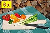 6 Grill PREMIUM Pizzabrett spülmaschinenfest*, Holz groß, natur, je ca. 42 cm x 22 cm als Bruschetta-Servierbrett, Brotzeitbrett mit Griff, Naturholz - Rotbuche unbehandelt, Grillbrett, als Raclette-Pita-Döner-Naan-Servierbrett,Roti-Ciabatta-Langos-Chubz-Servierbretter, Piadina-Chapati-Focaccia-Teriyaki-Servierteller Holz, Döner Kebap-Flammkuchen, Zwiebelkuchen Party-Buffetplatte ekmek-papadam-Brotbrett Fladenbrot Holz