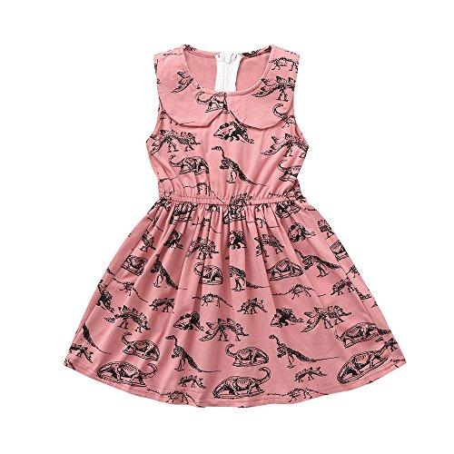 Kleinkind Baby Kleider,SANFASHION Säuglingsbaby Mädchen Cartoon Dinosaurier Ärmellose Sommer Kleid Prinzessin ()