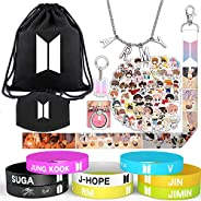 YFresh Big BTS Gifts Set for Army - 1 BTS Drawstring Bag/ 2 BTS Phone Ring Holder/ 1 BTS Lanyard/ 1 BTS Face M
