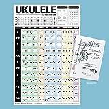 Popular Ukelele acordes Póster 24'x 36' + desbloquear su ukelele libro [Bundle]