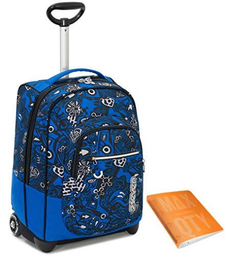 TROLLEY SEVEN + Quaderno Anelli Maxx Qty - Blu Arancione - 35 LT Scuola e viaggio - Crossover System
