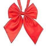 YSFWL  Damen Fliege Mode Einzigartige Krawatte Uniformen Cosplay Bowtie Einfarbig Student Maedchen Arbeiten Krawatten Frauen Neuheit GroßE Schleife Schlips Bereits Gebunden Verstellbar (Rot)