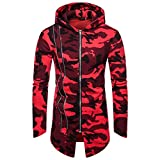 Yvelands Herren Mäntel Hooded Camouflage Zipper Coat Jacke Strickjacke Langarm Outwear Bluse(EU-48/L,Rot) Test