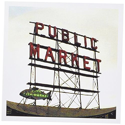 3drose 20,3x 20,3x 0,6cm Public Market Seattle Grußkarten, Set von 6(GC _ 14265_ 1)