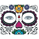 Xuxuou 15*25cm Facial Tatuaje Diseños Impermeables de Holloween Cráneo de Facial Tatuaje Maquillaje para Partido de Halloween Prop (1 Hoja)