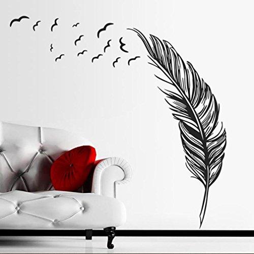 Pegatina de pared Switchali moda nuevo DIY Plumas de aves Pegatinas para pared Adhesivo Creativo Vinilo Decorativo del Cristal Decoración del hogar floral Pegatina para Puerta Habitación barato gran venta (Negro)