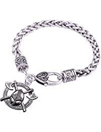 Teamer Brazalete de casco vikingo, diseño de Odin Raven, amuleto y talimán, joyería