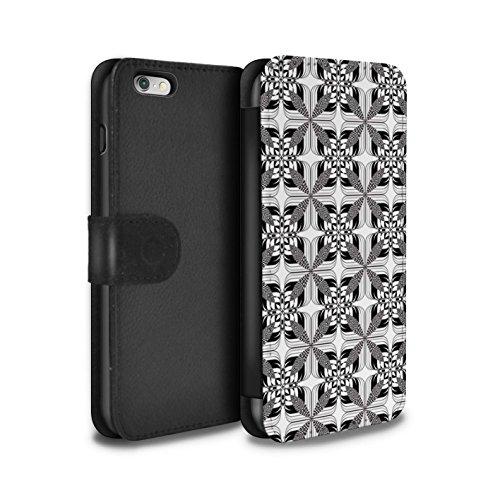 Stuff4 Coque/Etui/Housse Cuir PU Case/Cover pour Apple iPhone 6S+/Plus / Cube 3D/Modèle Design / Mode Noir Collection Tuiles Symétrie